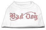 Bad Dog Rhinestone Shirts White XS